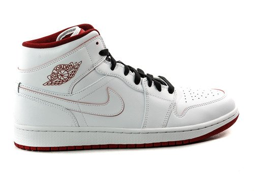 AIR JORDAN 1 MID WHITE/GYM RED-BLACK - 554724-103