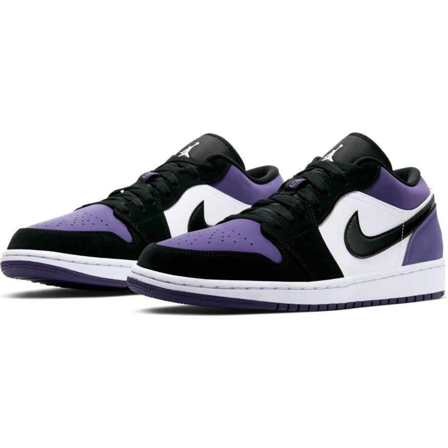 Nike Air Jordan 1 – Biało fioletowe niskie buty sportowe 553558 125