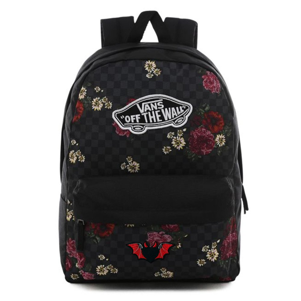 Plecak do szkoły Vans Realm Botanical Check VN0A3UI6UWX Custom Bat