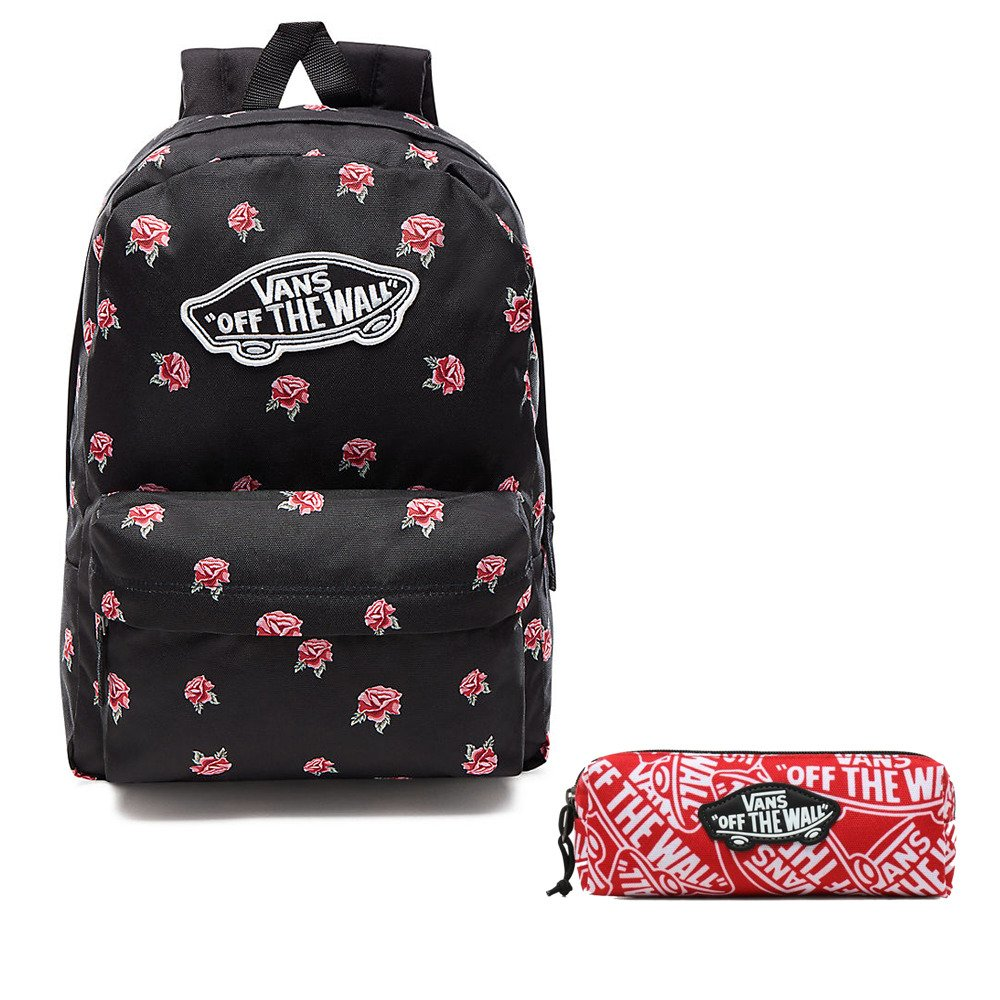 Plecak szkolny VANS Realm Black & Rose Backpack VN0A3UI6RDU + Piórnik